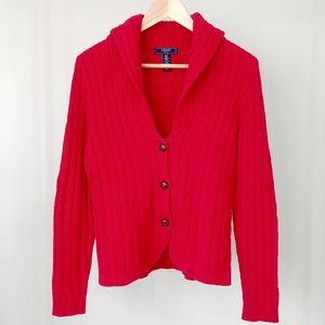 Chaps Cable Knit Cardigan Sweater Red Size Small